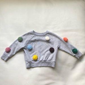 EUC Pom Pom Grey Sweatshirt Embellished 3T